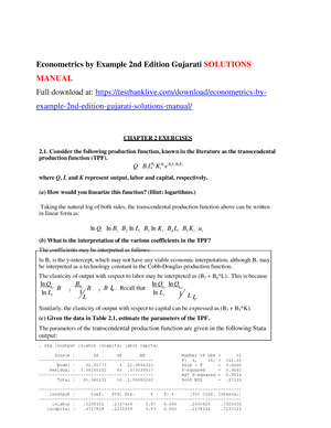 Econometrics By Example 2nd Edition Gujarati Solutions Manual Studocu
