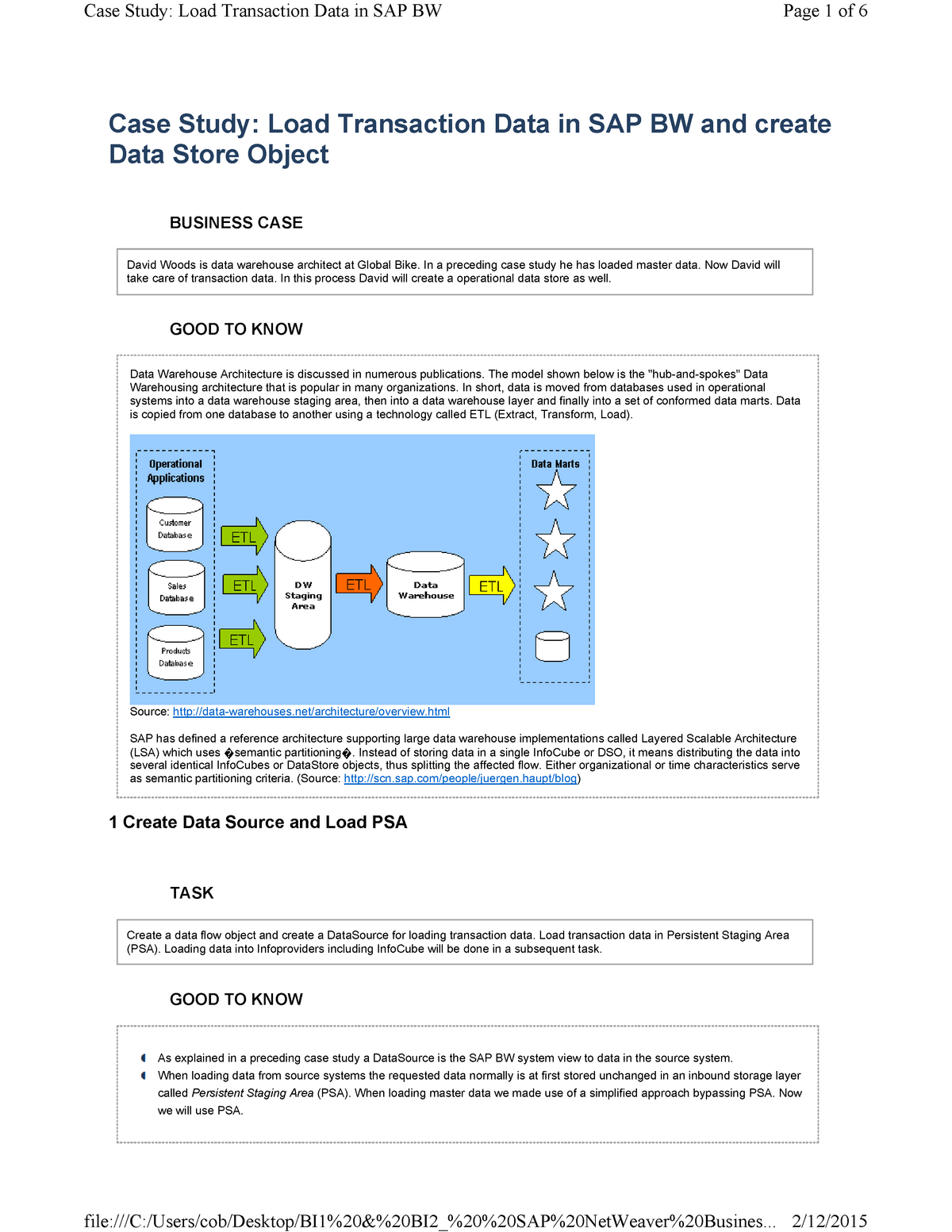 Load Transaction Data - Tutorial work to build Business Intelligence