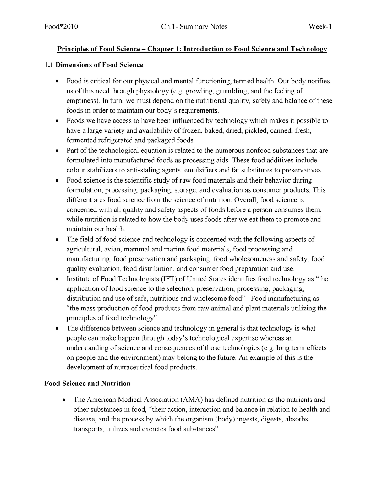 Summary Principles of Food Science SW: complete - Food2010