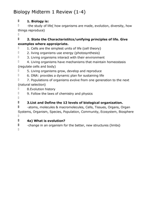 Biology 1000 midterm 2 Notes, Summaries and Exams - StuDocu