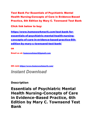 Test Bank For Essentials Of Psychiatric Mental Health Nursing