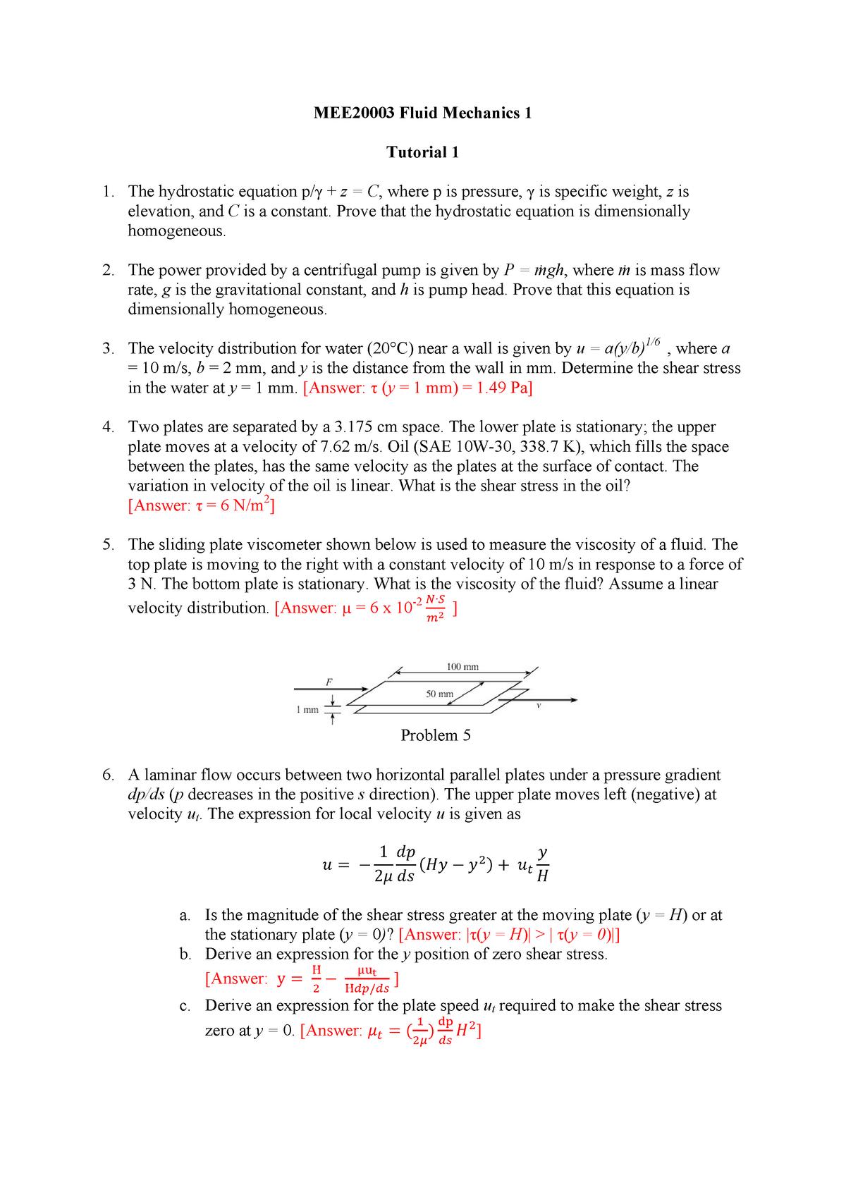 Tutorial 1 - tut - MEE20003: Fluid Mechanics 1 - StuDocu