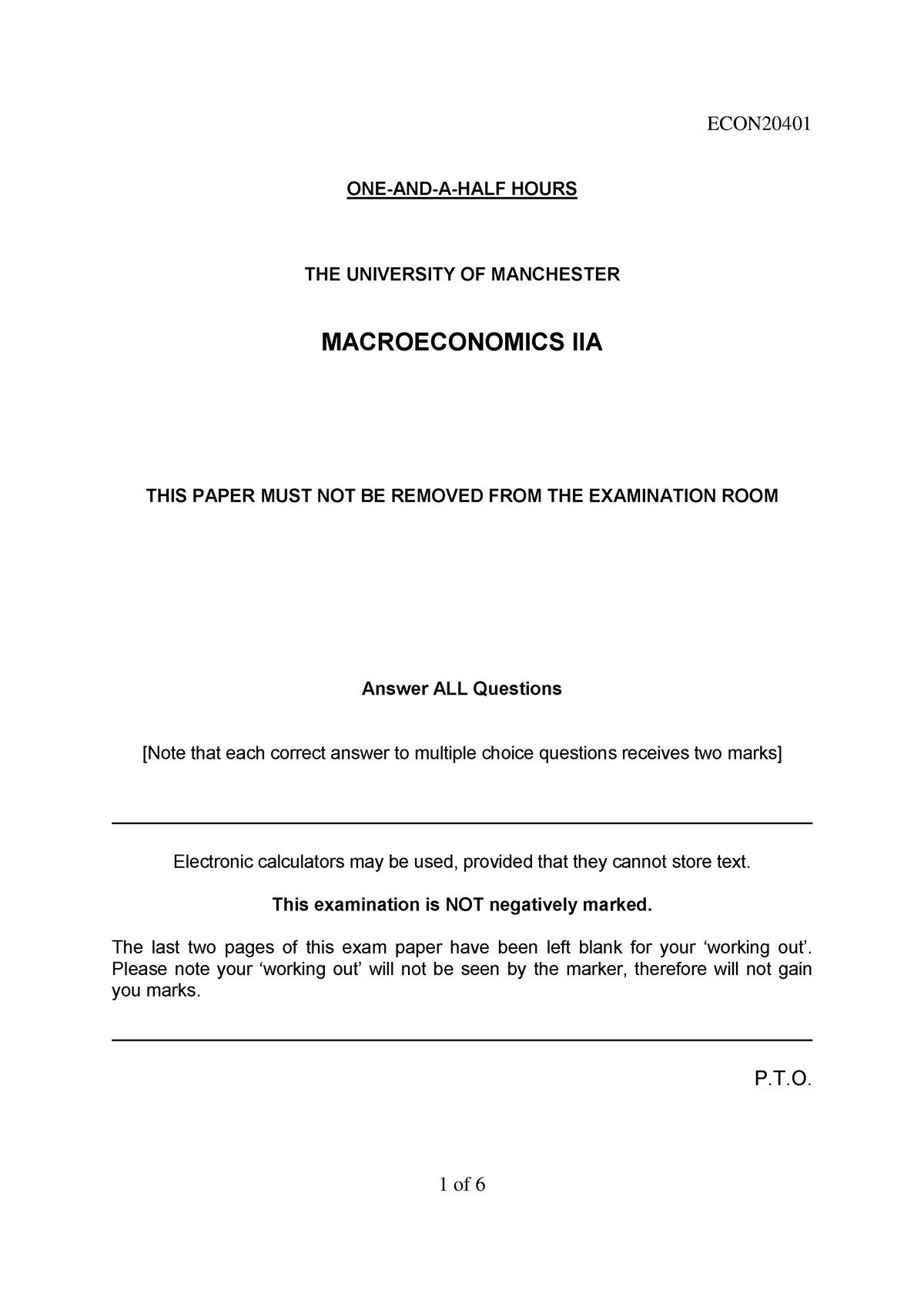 Exam 2015, questions and answers pdf - Macroeconomics IIA