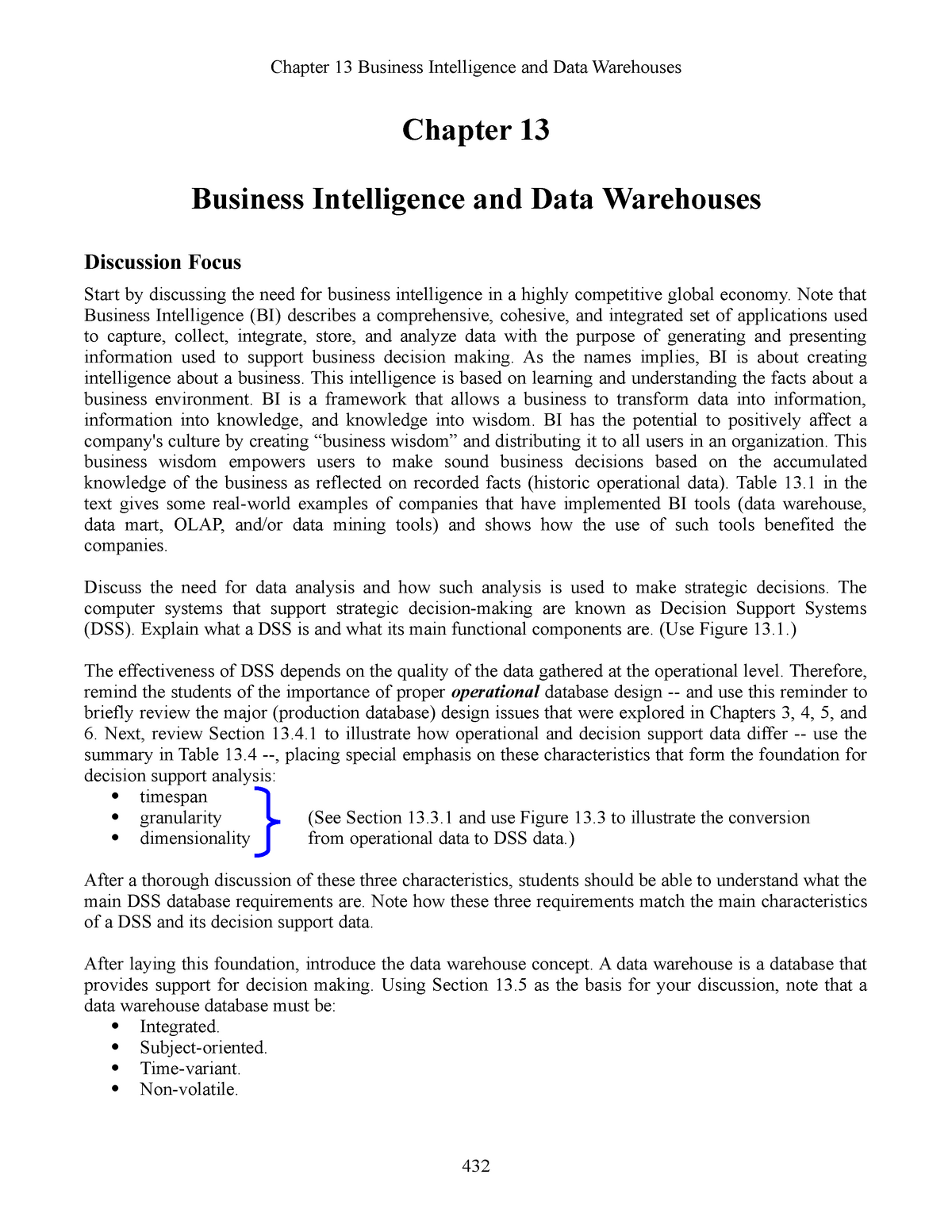 IM Ch13 Data Warehouse Ed12 - ITC423 Database Systems - CSU
