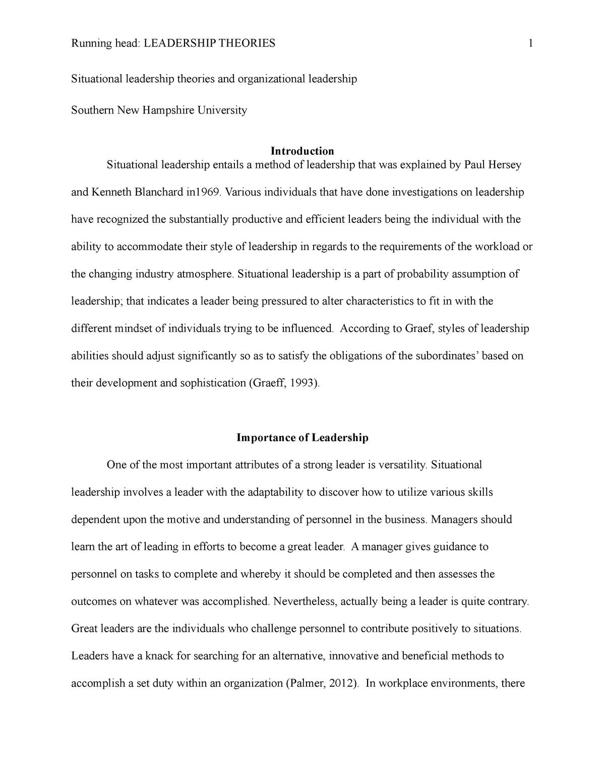 Situational Leadership Theory Studocu