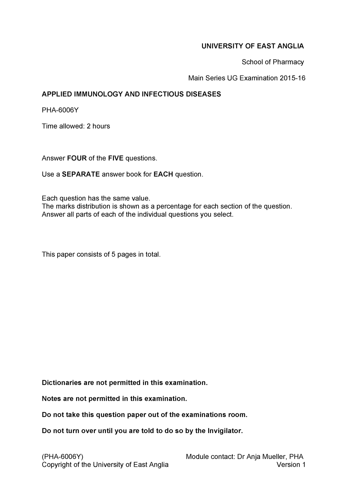 Exam 2015 - PHA-6006Y: Applied Immunology And Infectious