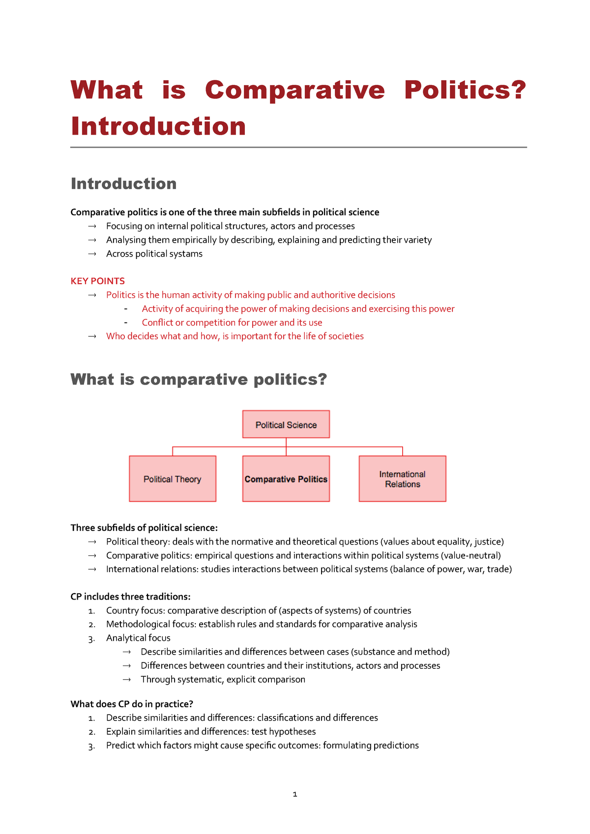 Comparative Political Institutions - 1200PSWCOP - StuDocu