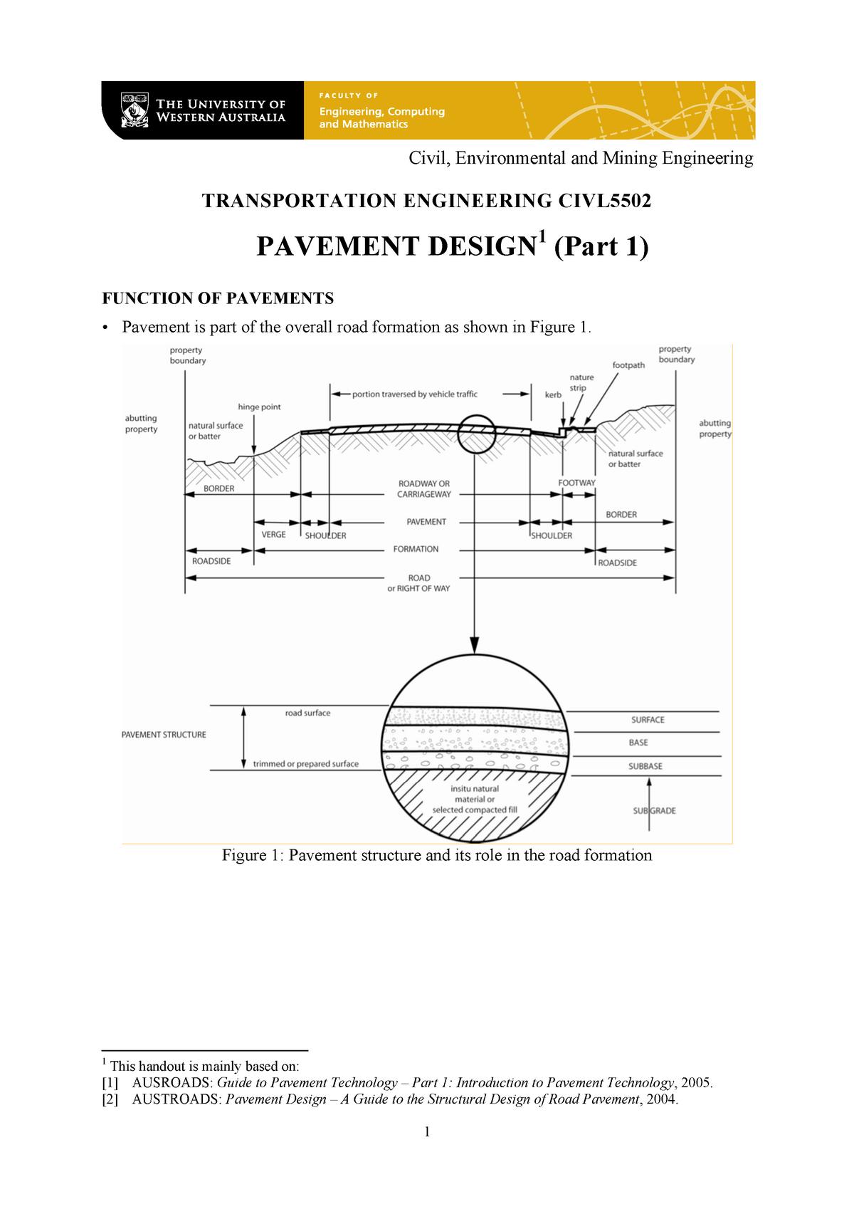 Pavement 1 Lecture Notes 1 2 Civl4180 Uwa Studocu