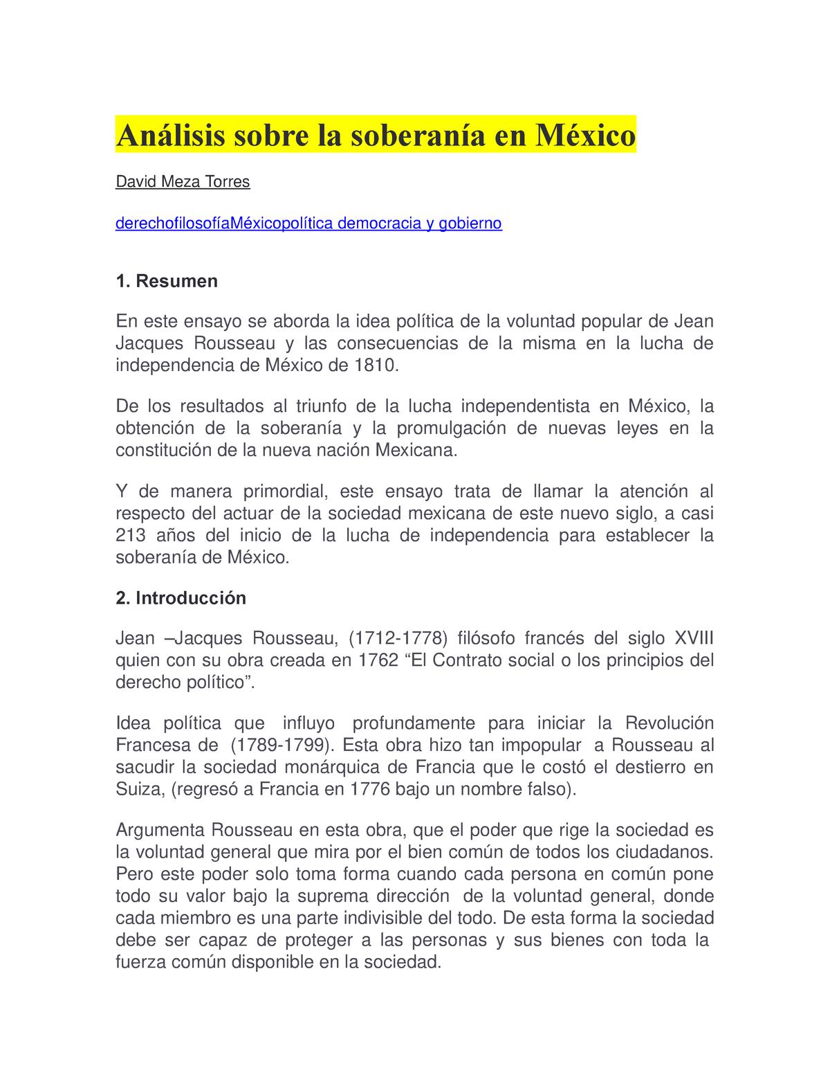 Análisis Sobre La Soberanía En México Fundamentals Of Law