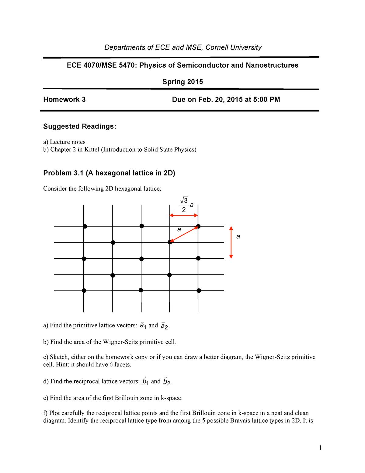 Seminar assignments - Homework 3 - ECE 4070: Physics Of