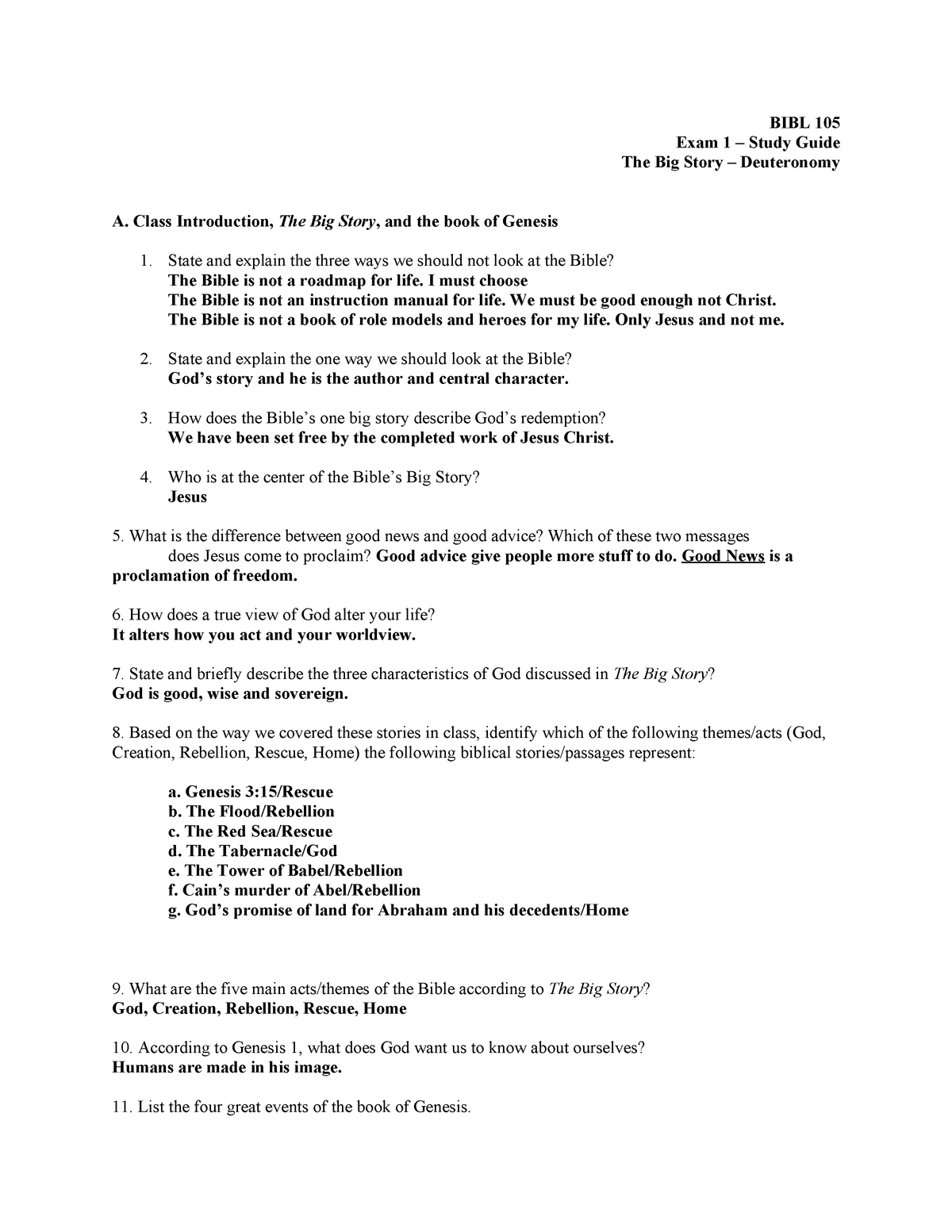 EXAM REVIEW 1 September Autumn 2018, questions and answers