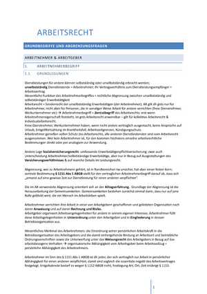 Arbeitsrecht 1 Zusammenfassung Arbeits Und Sozialrecht Teil 1
