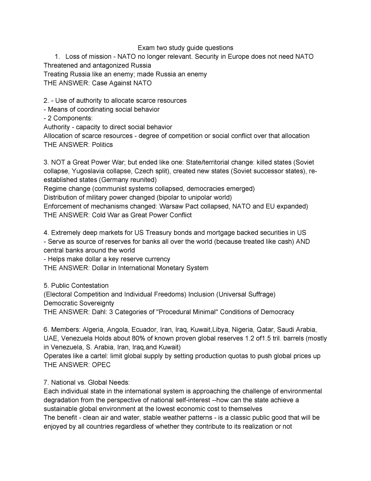 Exam Fall 2016, questions and answers - GOV312L - StuDocu
