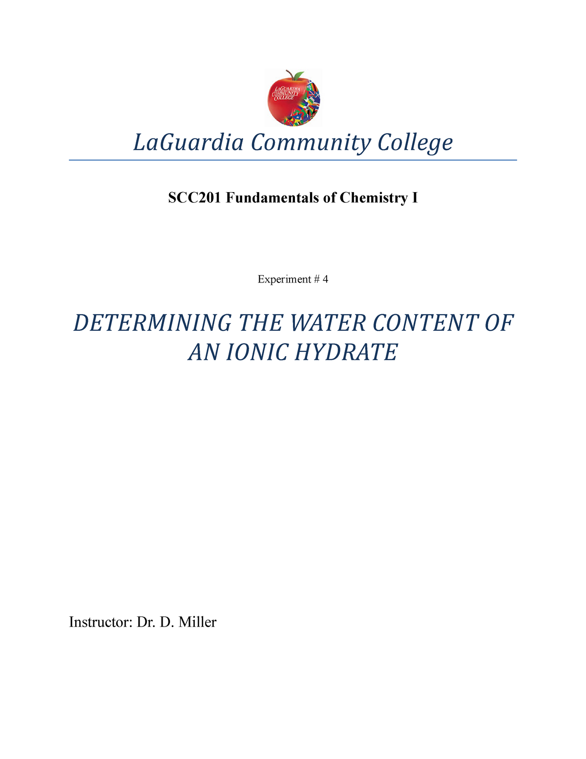 YOGI-ionichydrate - Determining the Empirical Formula of a Hydrate D