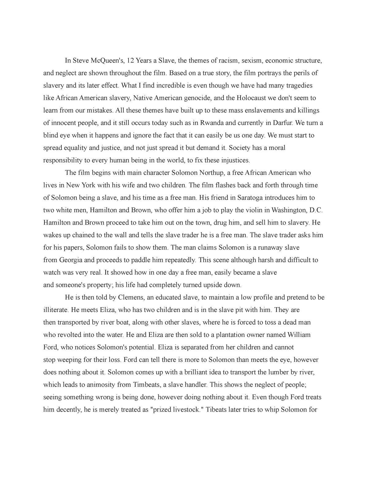 12 years slave essay