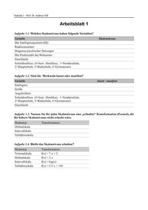 Seminaraufgaben - Arbeitsblatt 1-10 mit Lösungen - 10PSY1021 ...