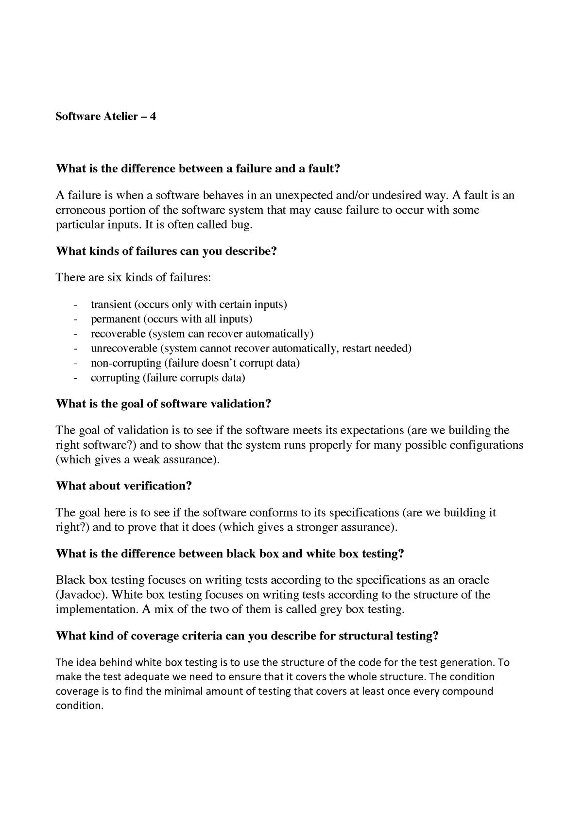 Notes SA4-6 - Zusammenfassung Software Architecture and