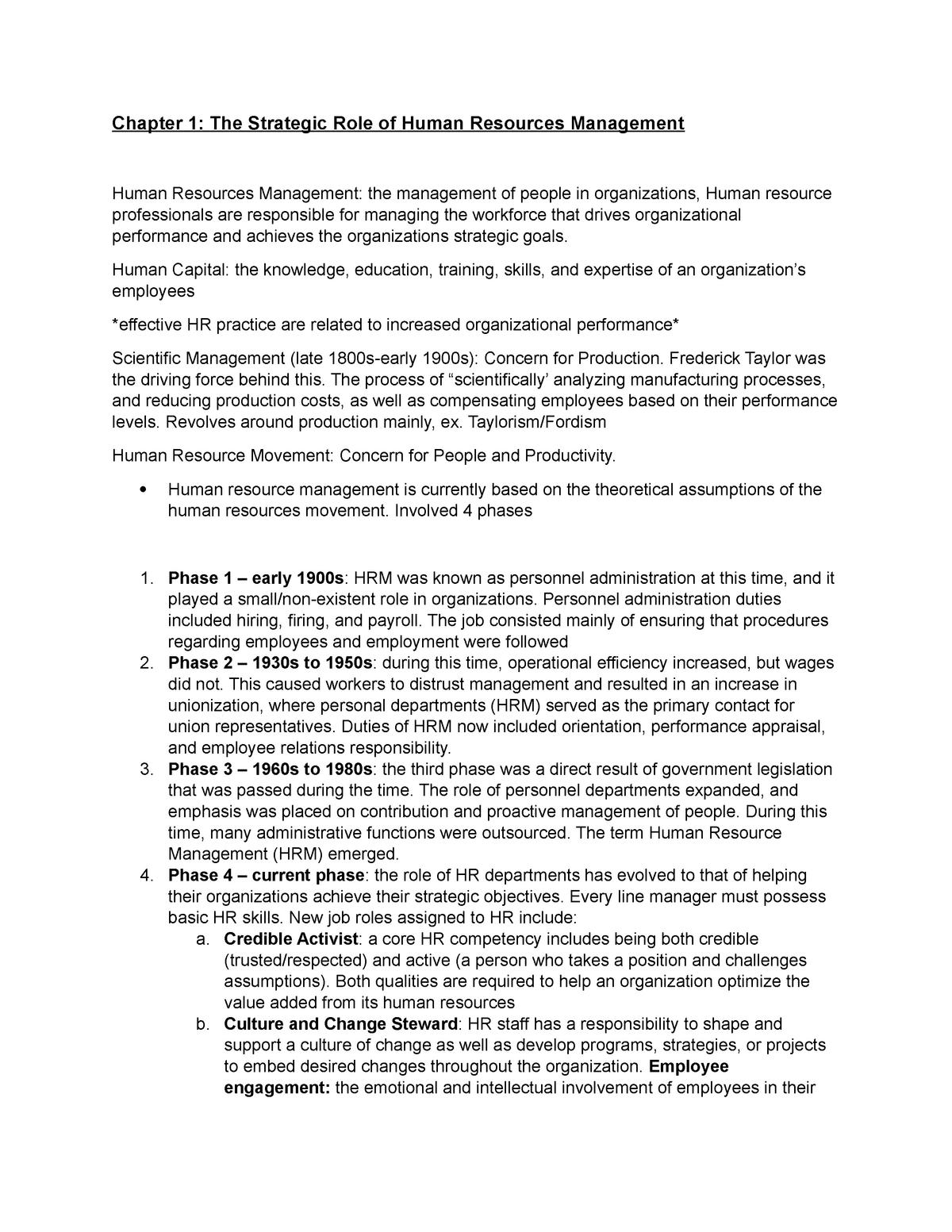 HR Midterm Review - BUS 2440 Human Resource Management - StuDocu