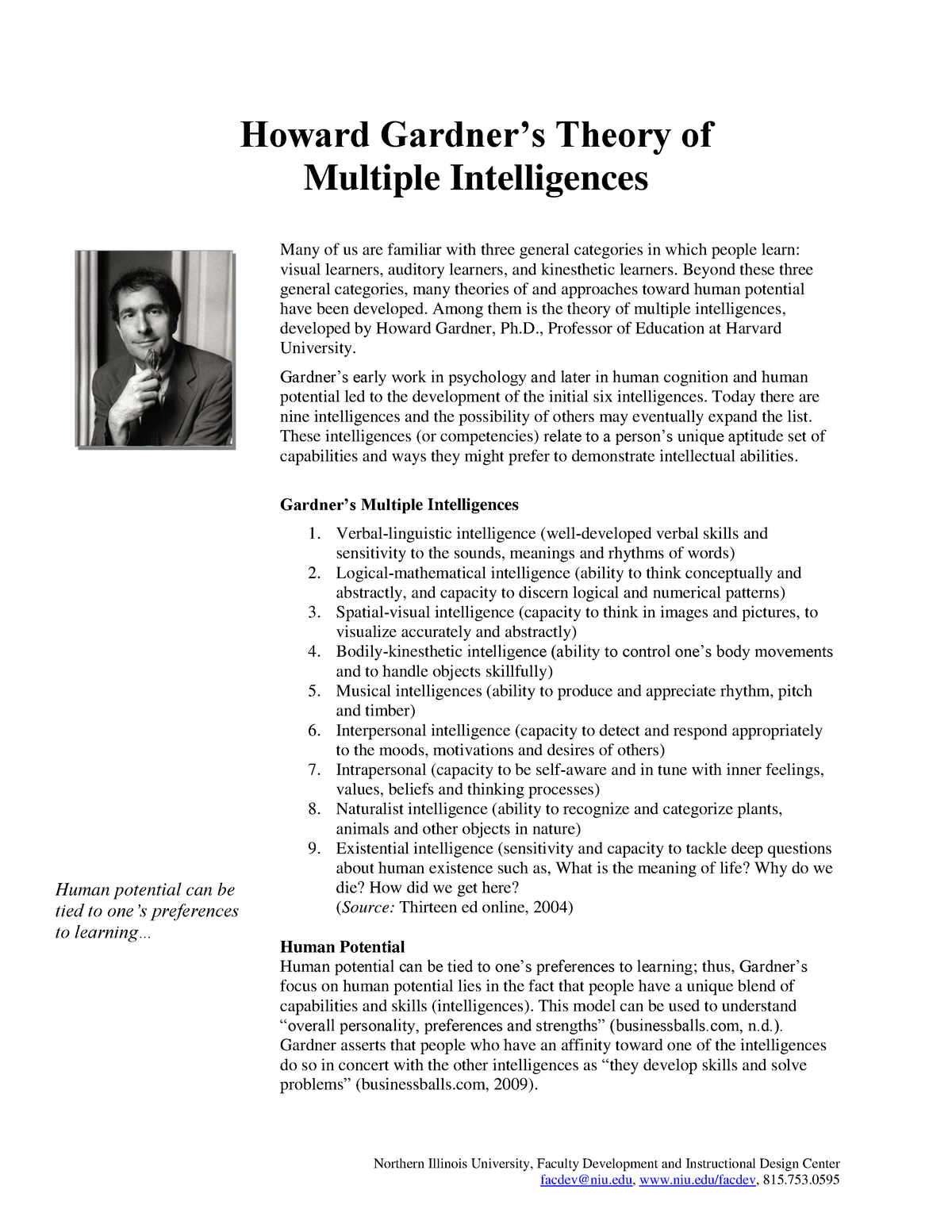 image regarding Howard Gardner Multiple Intelligences Test Printable known as Howard gardner principle several intelligences - - StuDocu