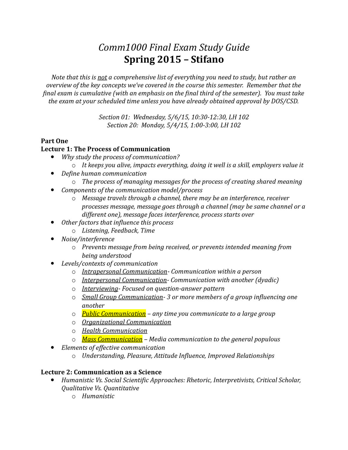 Summary Steve Stifano Final Study Guide Final Exam Study Guide Spring 2015 Stifano Note That This Is Not Comprehensive List Of Everything You Need To Study Studocu Social information processing (sip) theory posits that online communicators. steve stifano final study guide final