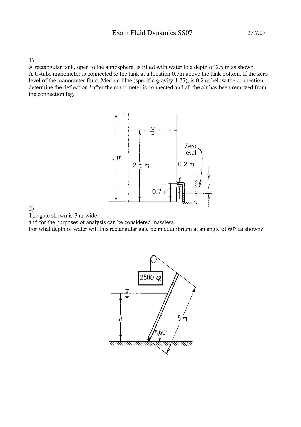 Klausur 2007 - Strömungsmechanik - StuDocu
