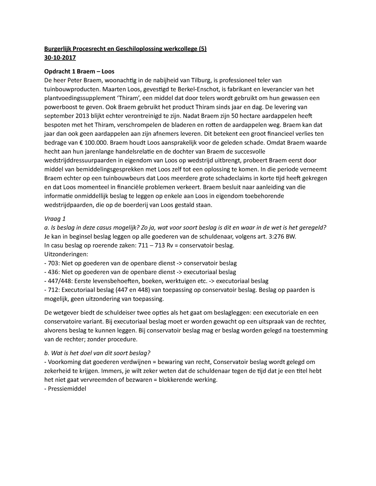 Burgerlijk Procesrecht En Geschiloplossing Werkcollege 5