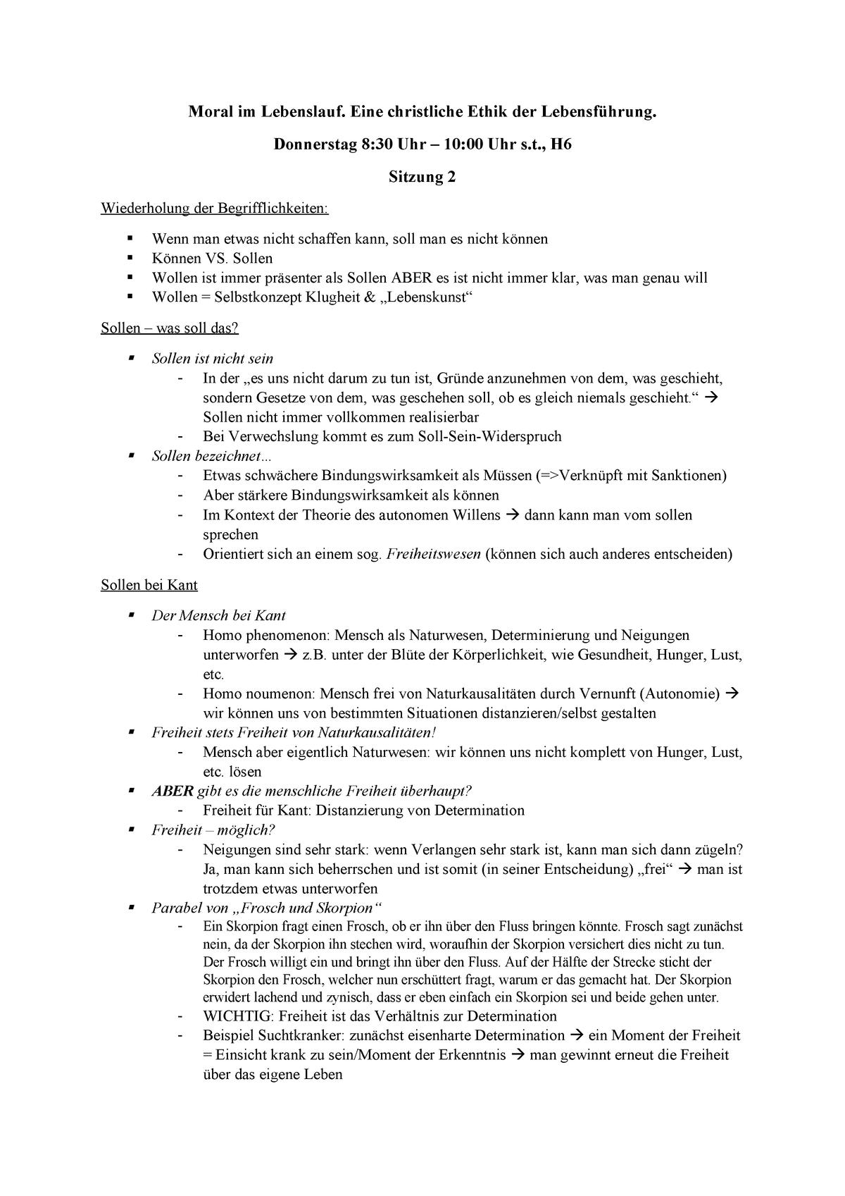 2 Vorlesung Moral Im Lebenslauf Studocu