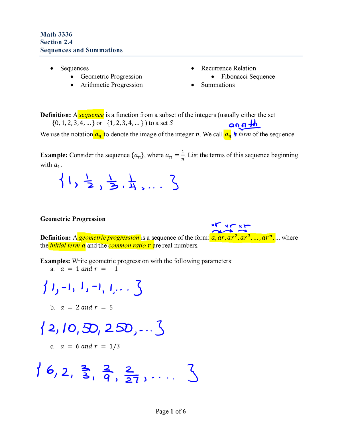 Discrete Mathematics - Lecture 2 4 Sequences and Summations