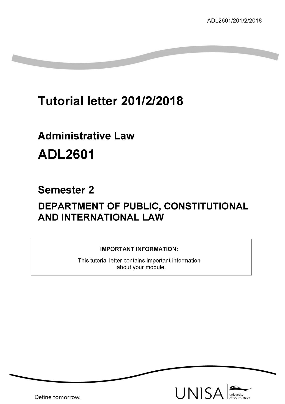 201 2018 2 b - tut - Administrative Law ADL2601 - UNISA