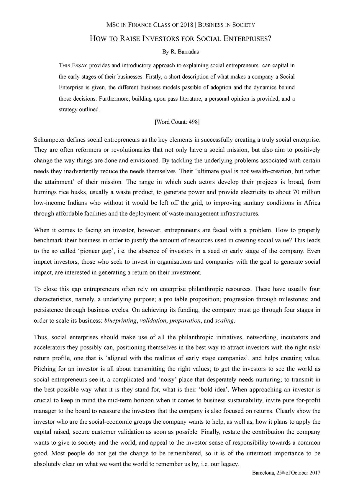 Social Enterprises - Business in Society - StuDocu