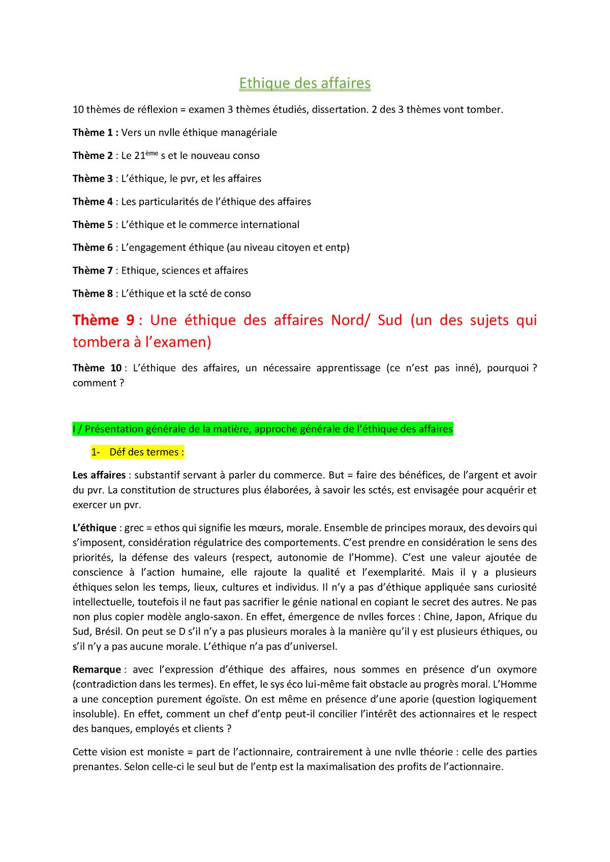 Dissertation ethique et entreprise