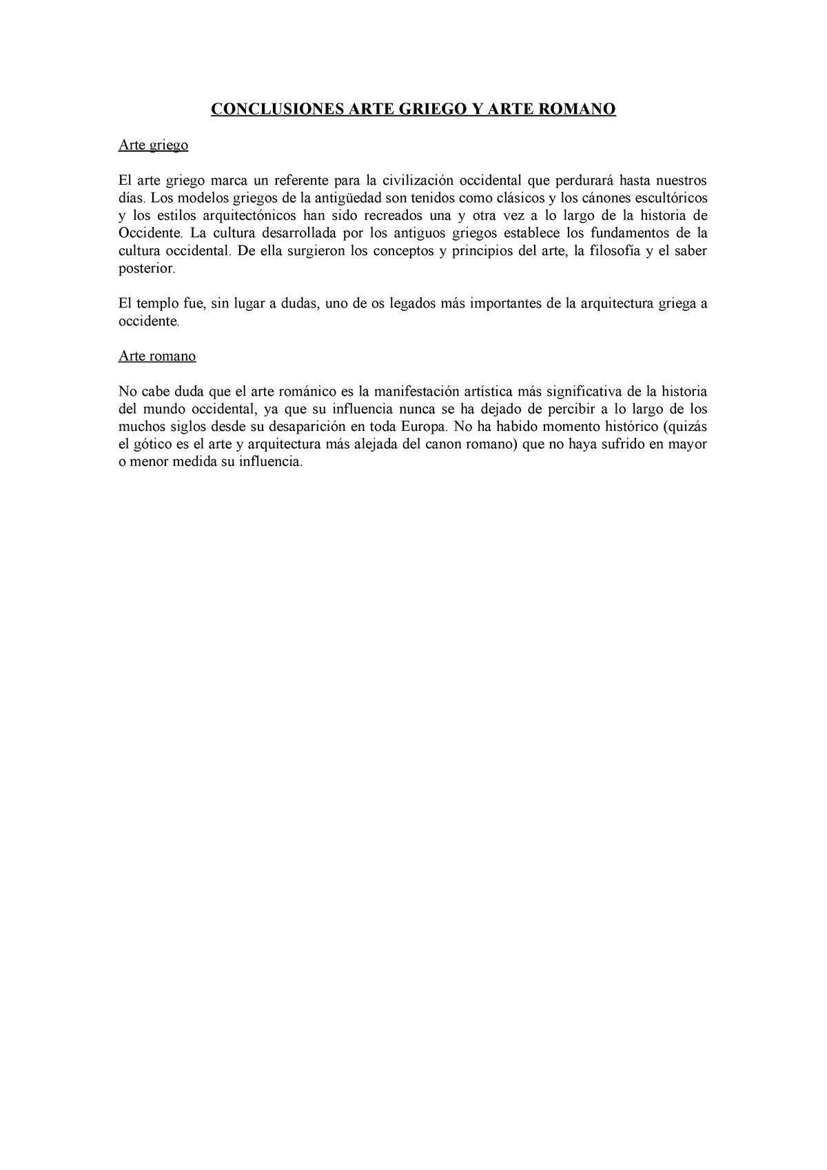 Conclusiones Arte Griego Y Arte Romano Studocu
