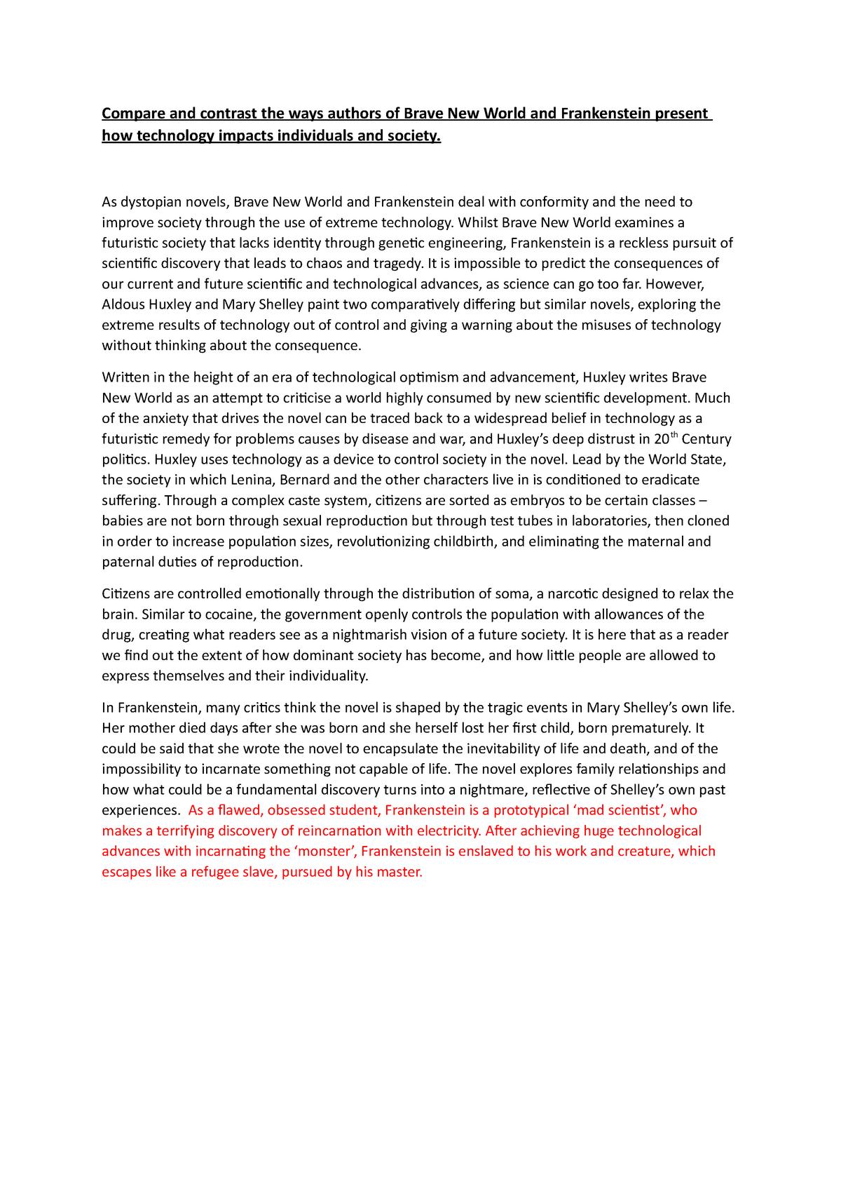 Brave new world frankenstein essay tennis resume