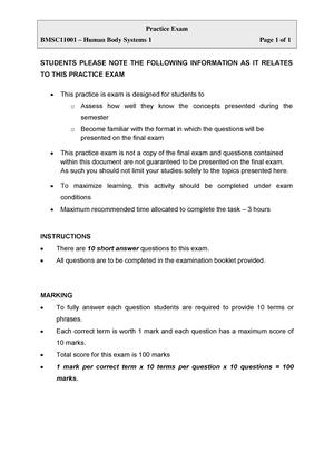 Exam 2015 - BMSC11001: Human Body Systems 1 - StuDocu