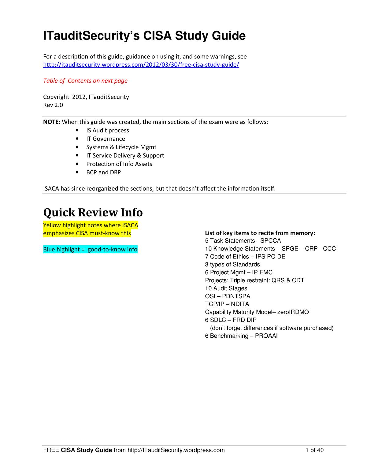 Free CISA Study Guide - Public Law - PolyU - StuDocu