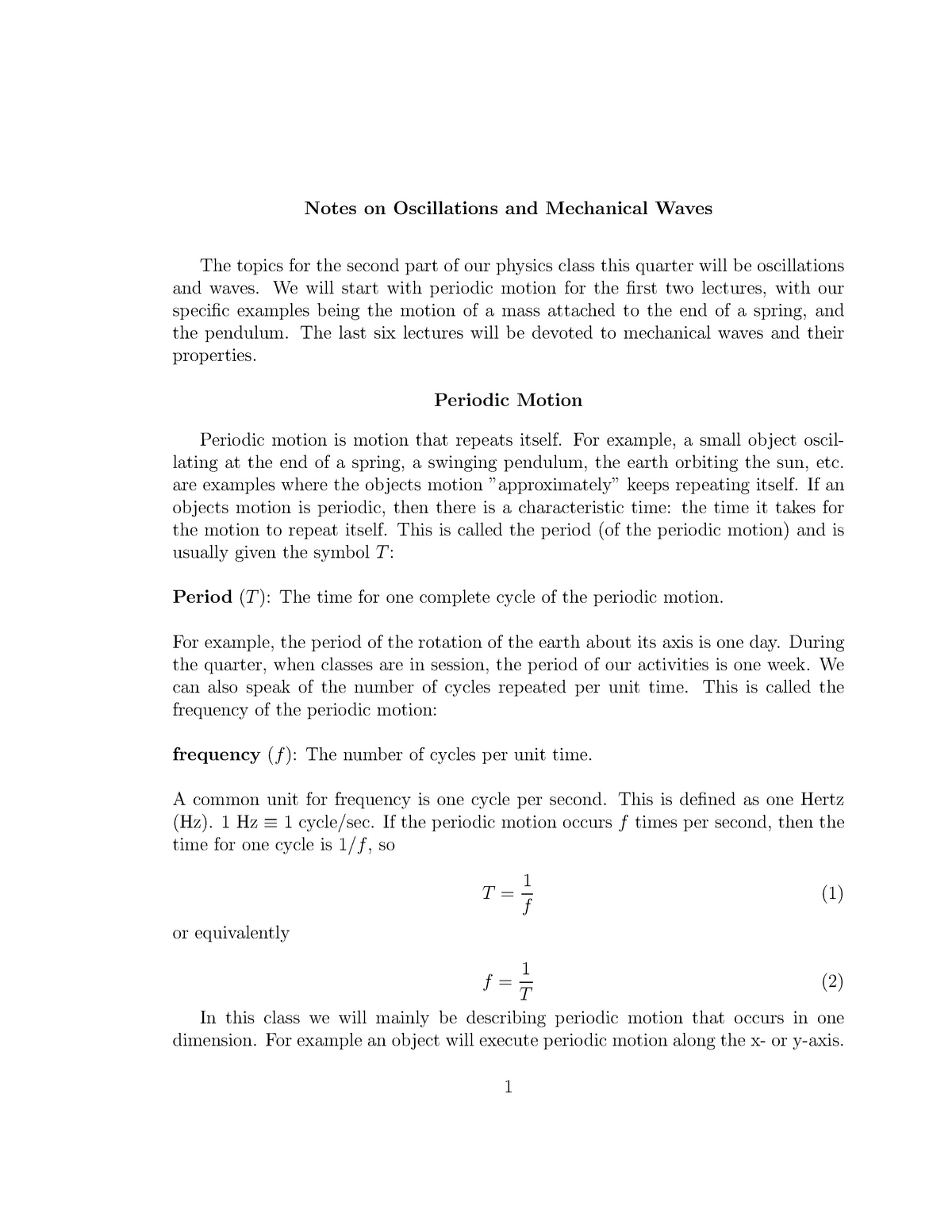 Lecture notes, lecture on Periodic Motion - Notes on