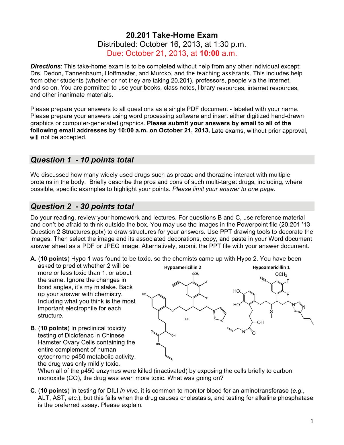 Exam 2013 - 20  201: Mechanisms Of Drug Actions - StuDocu