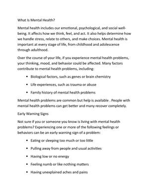Mental Health notes - NSC401: Mental health and Psychiatric Nursing