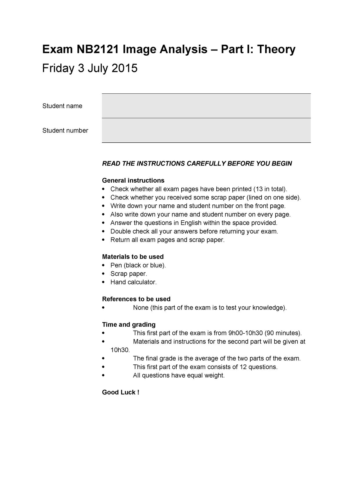 Proeftentamen 24 juni 2016, vragen - Image Analysis NB2121