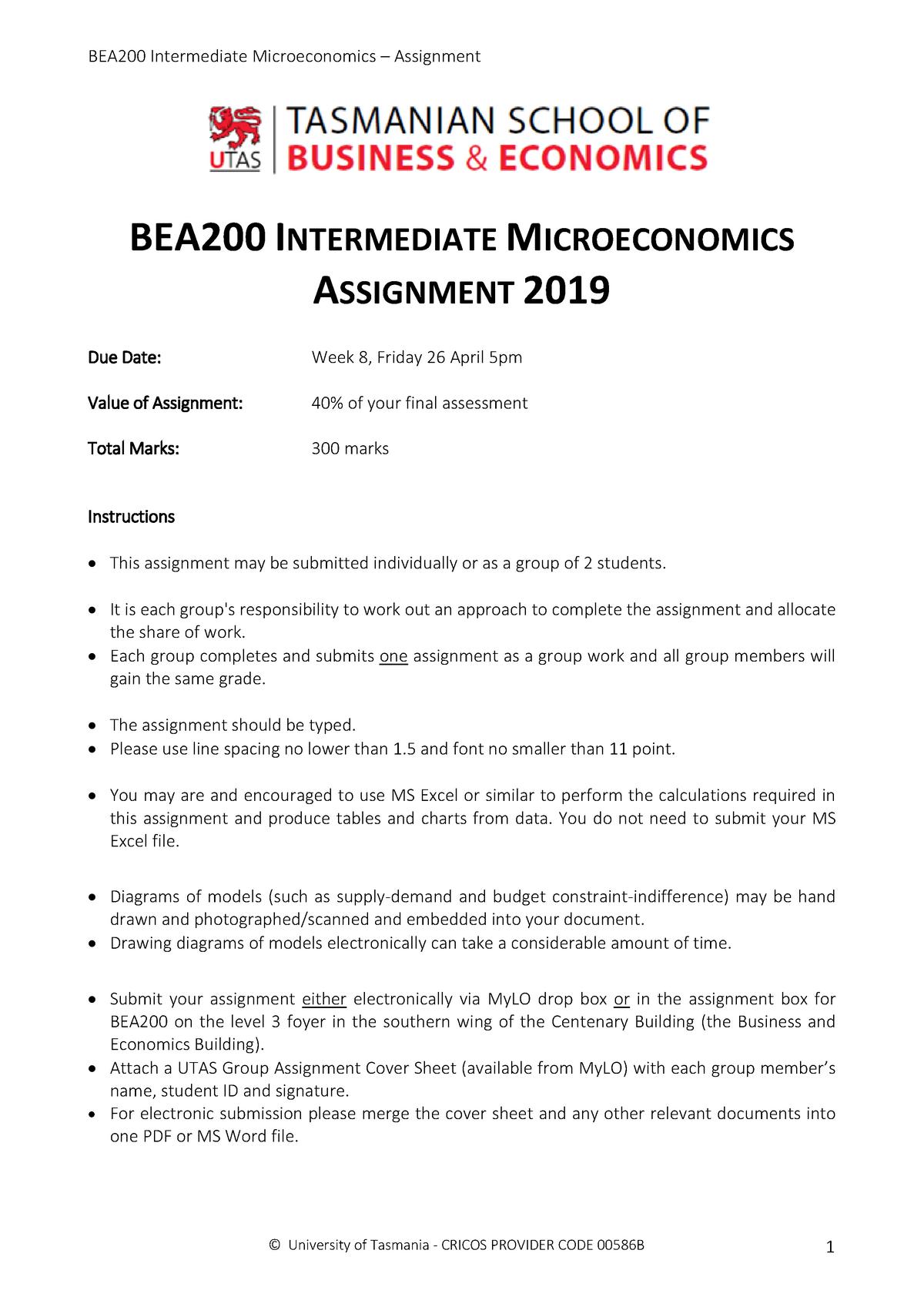 BEA200 Assignment 2019 (Qu4 TBC) - BEA140: Quantitative methods