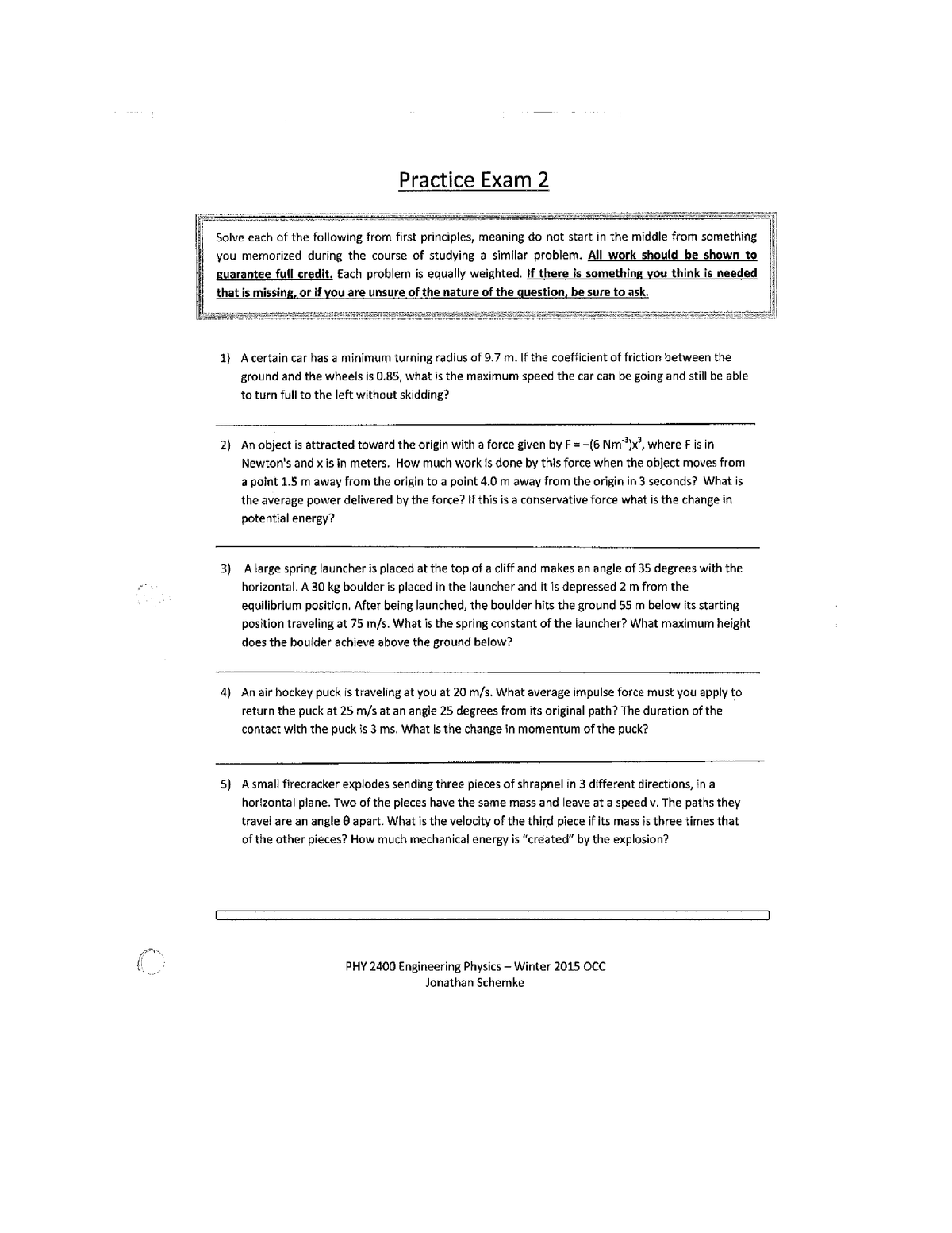 Exam 2014 - PHY 151: Introductory Physics I - StuDocu