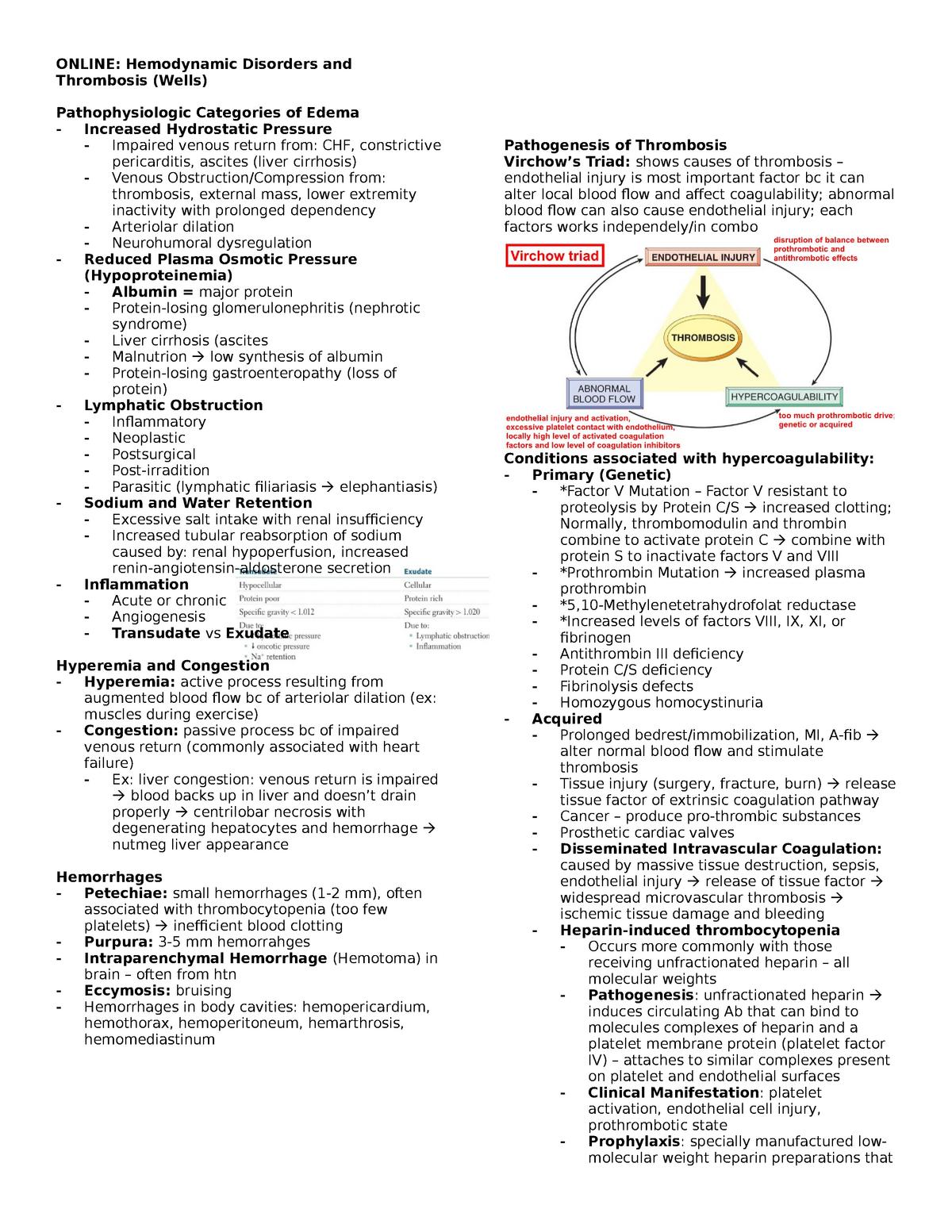 Online - Hemodynamic Disorders and Thrombosis (Wells) - MEID 609 30B