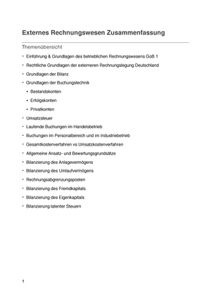 Externes Rechnungswesen Zusammenfassung - Externes Rechnungswesen ...
