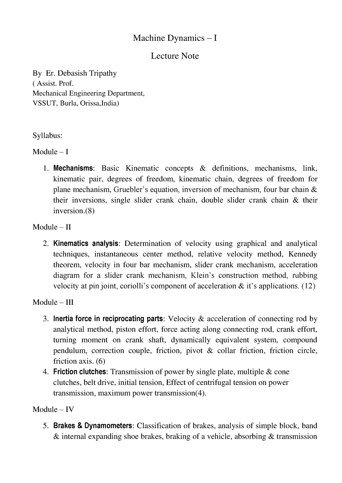 Machine dynamics -1 - Mechanical Engineering bdd - StuDocu