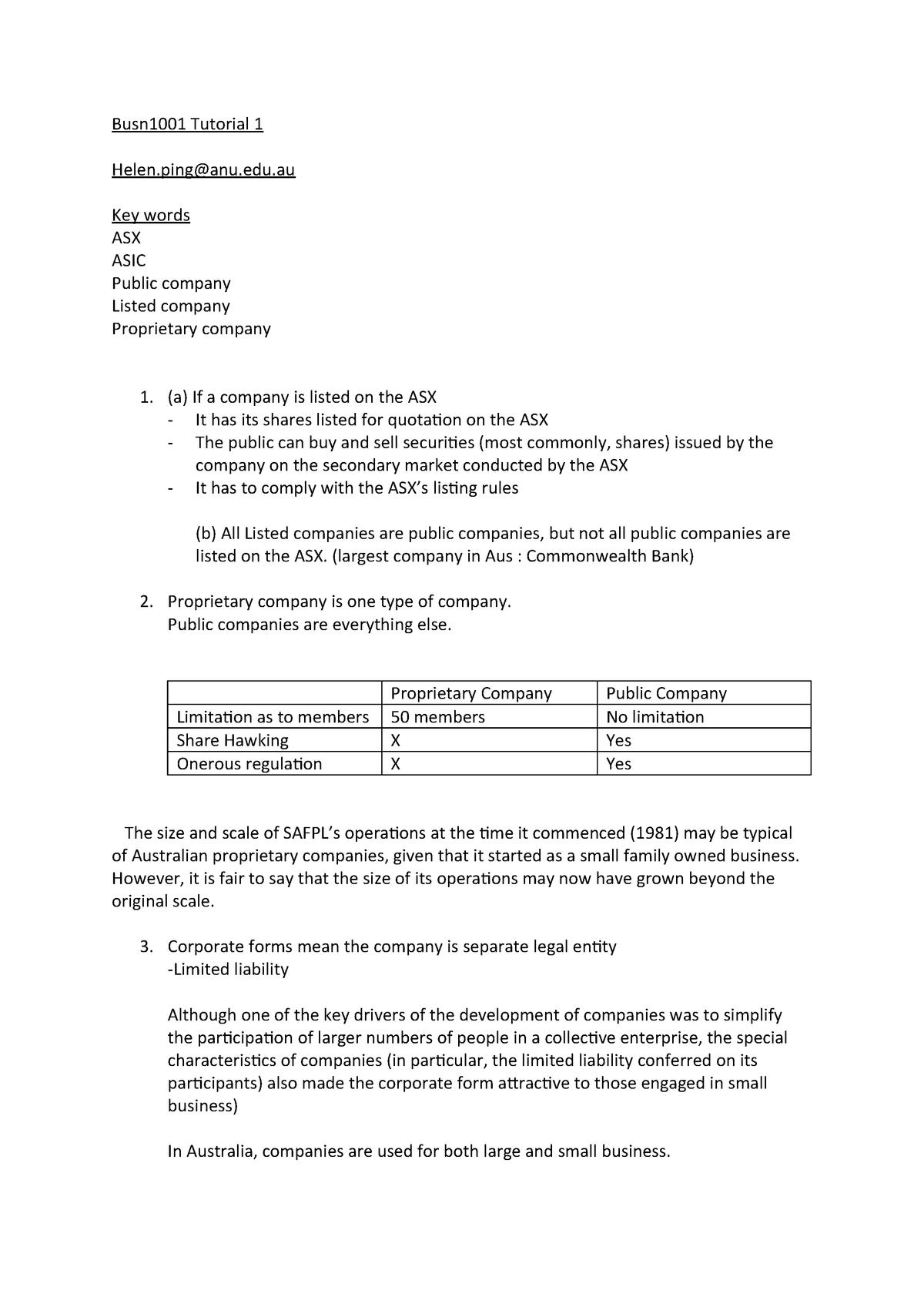 Busn2101 Tutorial 1 - BUSN2101: Law of Business Entities