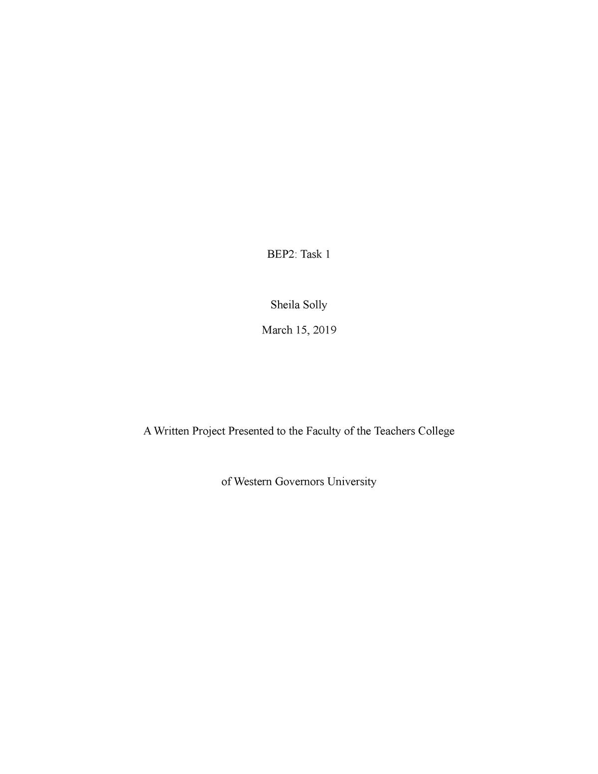 BEP2 Task 1 - Grade: pass - c225 - StuDocu