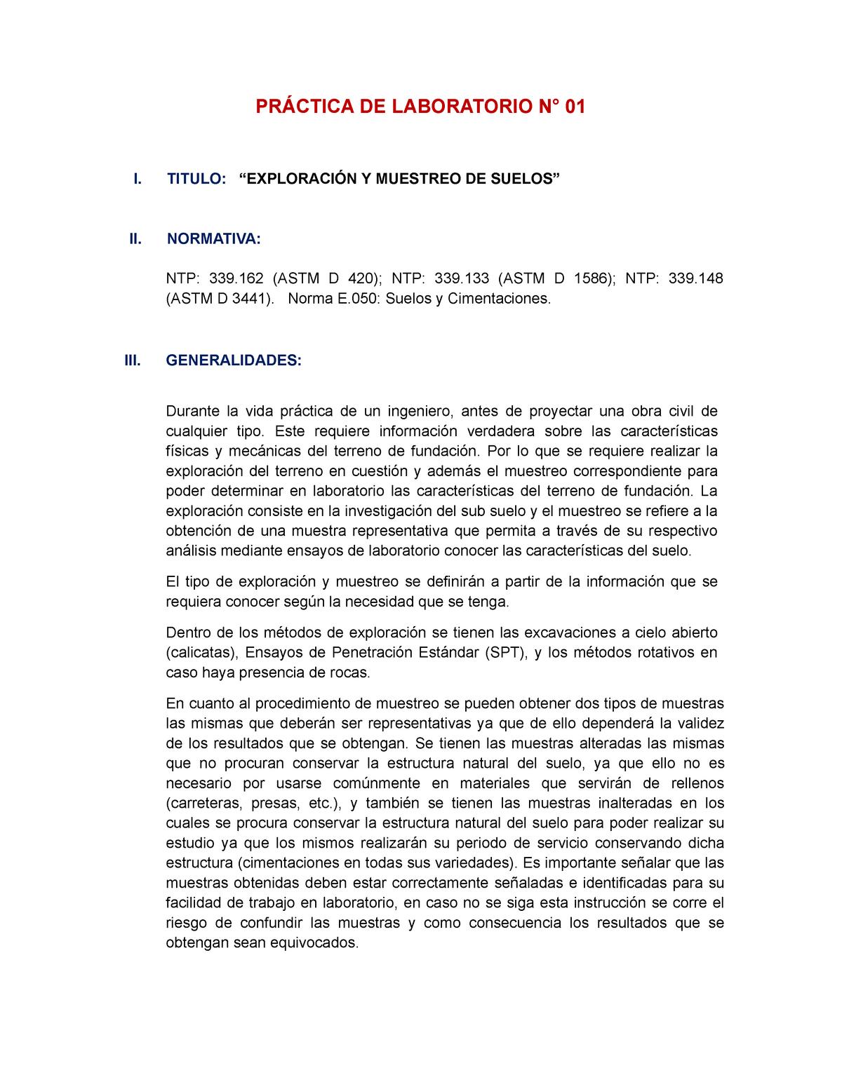 Informe De Lab De Mecanica De Suelos 1 Ic254 Ucv Studocu