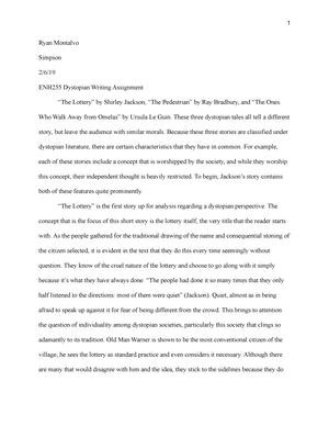 Dystopian Writing Assignment - ENH255 - MCC - StuDocu