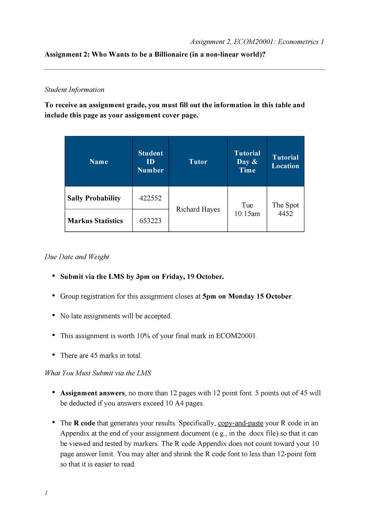 Assignment 2 econometrics - ECOM20001 - Unimelb - StuDocu