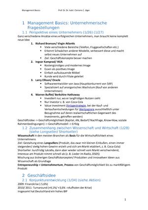 Management Basics Zusammenfassung - Management Basics